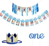 Faylapa Baby Boys 1st Birthday Decoration - First Birthday High Chair Banner,ONE Burlap Ribbon Banner,Baby Photo Banner,No.1 Crown,Glitter One Cake Topper