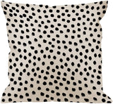 HGOD DESIGNS Polka Dots Decorative Throw Pillow Cover Case,Brush Strokes Dots Cotton Linen Outdoor Pillow Cases Square Standard Cushion Covers for Sofa Couch Bed 18x18 inch Black