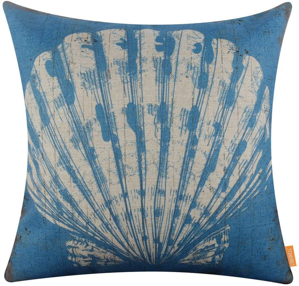 LINKWELL 18x18 inches Vintage Blue Seashell Burlap Throw Pillow Cover Cushion Cover (CC1368)