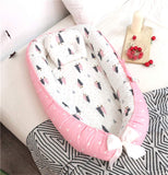 Abreeze Baby Bassinet for Bed,Forest-Pink Baby Lounger Crib Bedding, Breathable & Hypoallergenic Co-Sleeping Baby Bed, 100% Cotton Portable Crib Pillow for Bedroom/Travel/Camping