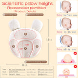 Shawntoo Flat Head Baby Pillow, 0-12 Months Newborn Toddler Infant Pillow for Head Shaping, Natural Latex Toddler Pillow with Washable Organic Cotton Pillowcase, Flat Head Syndrome Preventing (Bear)