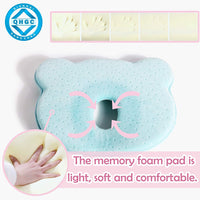 AtoBaby Baby Pillow, Memory Foam Cushion for Flat Head Syndrome Prevention and Head Support,Baby Head Shaping Pillow