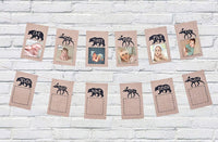 Woodland Creature Bear Reindeer 1st Baby Birthday Photo Banner from one to Twelve Months, Monthly Milestone Photograph Rustic Bunting Garland for Baby First Birthday Decoration by Ucity