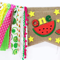Watermelon High Chair Banner for One Birthday – Fruit Party Decorations Burlap Photo for Baby Girl Boy – First Birthday Souvenir Gifts Prop Backdrop Highchair Bunting Garland Decoration