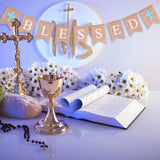 Chuangdi Blessed Burlap Banner Baptism Communion Hanging Banner Photo Props for Christening Wedding Baby Shower Decoration (Blue Cross)