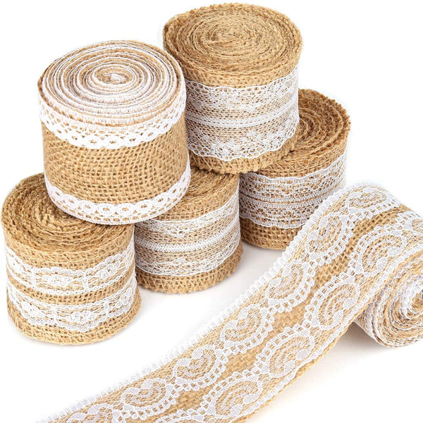 12 Yards Burlap Ribbon, LEOBRO 6 Rolls Burlap Lace Ribbons in 6 Assorted Styles, Handmade Burlap Ribbons for Crafts, Wedding Decoration, Party Decor, Mason Jars, 2 Yards/Roll