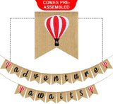 Adventure Awaits Bon Voyage Burlap Banner - Travel Themed Wedding Birthday Retirement Graduation Baby Shower Job Career Change Farewell Party Decoration Supplies