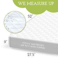 "Soft, Quiet, Waterproof Crib & Toddler Bed Mattress Protector - (52"" x 27.5"")"