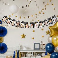 1st Birthday Baby Photo Banner - Perfect 1-12 Month Photo Prop Garland Bunting Baby Shower Party Decoration Black