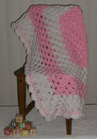 Cozy Size Handmade Baby Blanket (Pink and White)