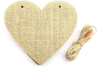 Tegg Burlap Banner 15PCS Heart-Shaped Hanging Natural Burlap Bunting Decorations for Birthday, Wedding, Baby Shower and Graduation