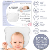 Newborn Baby Head Shaping Pillow | Memory Foam Cushion for Flat Head Syndrome Prevention | Prevent Plagiocephaly | Best Perfect for Baby Boy & Girl | Baby Shower Gift (Bear (White))