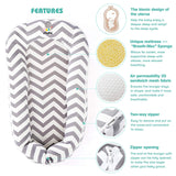 ECORE-Newborn-Baby-Lounger,Co-Sleeping,Infant Cudding Nest,Travel Bed-4 in 1,Breathable,Ultra Soft,Cover Removable for 0-12 Moth(Grey Chevron)