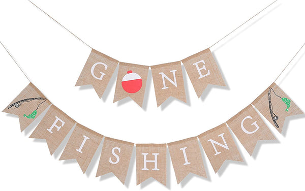 Burlap Banner For Gone Fishing Bunting - Fishing Themed 1st Birthday Bunting Decoration,Officially One for Little Fisherman ,The Big One Fishing Man Birthday,Rustic Fishing Photo Prop (GONE FISHING)