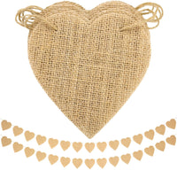 Bememo 2 Set 15 Pieces Vintage Heart Burlap Bunting Banner Hessian Flags for Valentine's Day, Birthday, Wedding, Baby Shower and Graduation, 2 M/ 6.56 Feet