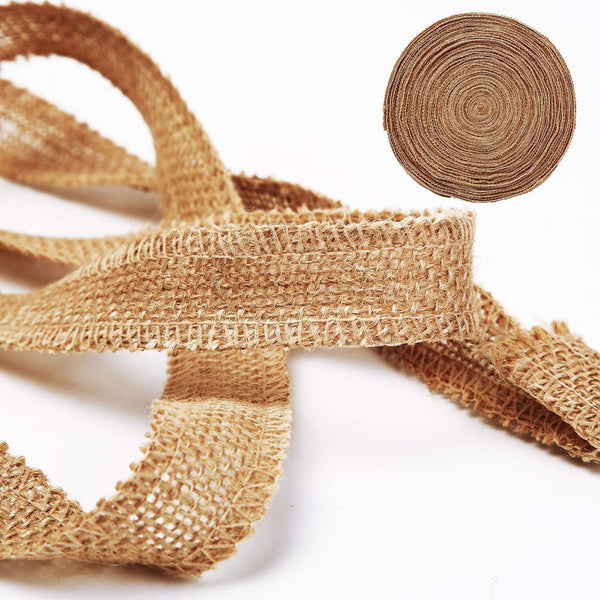 1 Inch Wide 54 Yards Burlap Ribbon, Natural Jute Fabric Ribbon Crafts Ribbon for Christmas Wedding Gifts Burlap Fabric DIY Ribbon for Decoration