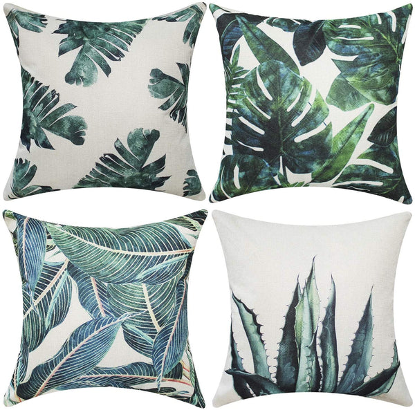 "Gysan Pack of 4 Tropical Leaves Series Throw Pillow Cover Decorative Cotton Linen Burlap Square Outdoor Cushion Pillow Cover Case for Car Sofa Bed Couch (Tropical Leaves A, 18"" x 18"")"