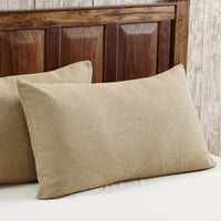 VHC Brands Burlap Pillow Sham Cover King Size Tailored Cotton Farmhouse Bedding in Natural Tan 21x37