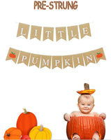 Burlap Little Pumpkin Banner Fall Autumn Birthday Party, Birthday Party Garland Decoration, Diaper Party, Baby Shower Decoration,PRE-Strung