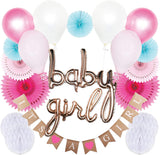 Baby Shower Decorations for Girl with Burlap Banner, Balloons, Honeycombs, Pinwheels in Pink, Teal