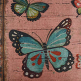 "LINKWELL 18""x18"" Vintage Pink Cartoon Butterfly Burlap Throw Pillow Case Seat Cushion Cover (CC1236)"
