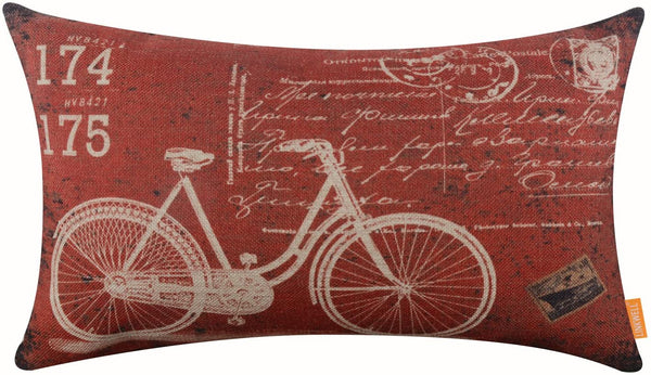 "LINKWELL 20""x12"" Vintage Bicycle Bike Burlap Cushion Covers Pillow Case"