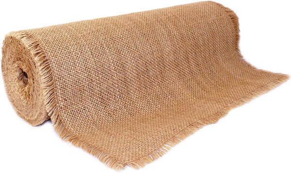 "12"" x 10yd Fringed Edge No-Fray Burlap Roll ~ Table Runner with Fringed Edges. Perfect for Weddings, Placemat, Crafts. Decorate Without The Mess!"