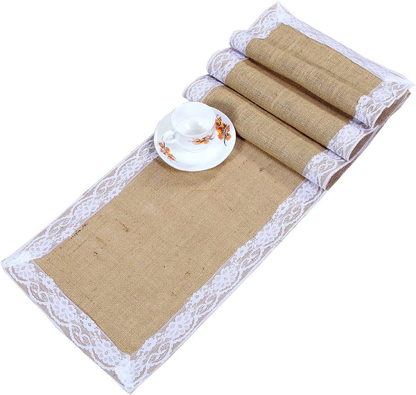 Jute Burlap Table Runner with Lace decoration 12 x 96 Inches -Natural Set of 2 - Perfect accessory to dress up dinner table with 100% bio-degradable & recyclable, environment.