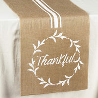 Letjolt Jute Jute Table Runner Burlap Thankful Printing Decorations Rustic Dinner Supplies Burlap Wedding Runners Farmhouse Runner Birthday Baby Shower Table Decorations 12x108 inches