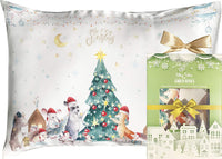 Toddler Pillowcase 100% Natural Silk - Soft, Hypoallergenic, Kids Pillow Cover 13x18 - Skin and Hair Benefits (White, Animals)