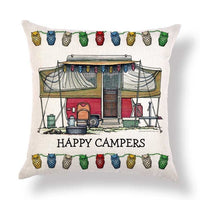 Happy Campers Vintage Retro Throw Accent Pillow Case Cover Cotton Linen Canvas