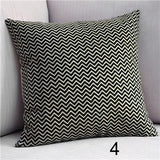 Hot Black and White Ripple Decorative Accent Throw Pillows Case Linen Cotton Cushion Cover for Sofa Car Seats 45X45cm