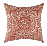 Decorative Square Throw Pillowcases Mandala Accent flax Cushion Cases Pillow Covers Mustard/ Rust/ Black in Cream - Pack of 2