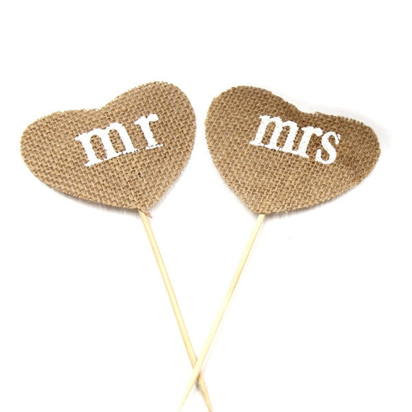 Vintage JUST MARRIED Baby Shower Heart MR MRS Event Party Supplies Country Wedding Decoration Flag Jute Burlap Linen Banner