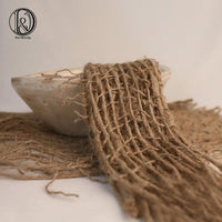 D&J Hand knitted Newborn Photography Prop Chunky Burlap Layer Net Hessian Jute Backdrop Blanket 100% Jute Rope 80x80cm