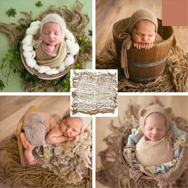 Newborn Photography Prop Chunky Burlap Layer Net Hessian Jute Backdrop Blanket MAY-9