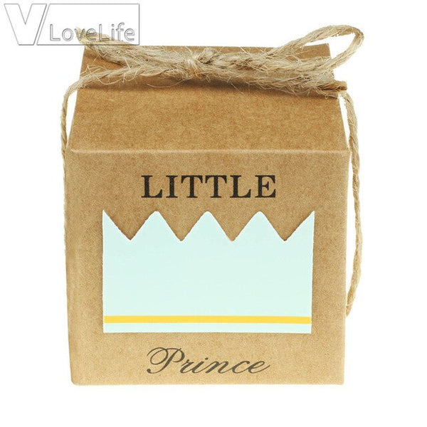 50Pcs Gift Box Candy Boxes Kraft Paper Crown Square Blue Pink For Burlap Bag DIY Guests Wedding Favors Birthday Baby Party Decor