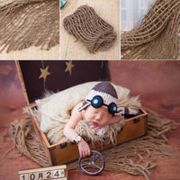 2019 new NoEnName-Null Newborn Photography Prop Chunky Burlap Layer Net Hessian Jute Backdrop Blanket