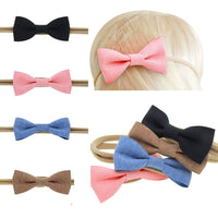 4 Pcs/set Fashion Baby Children Burlap Cotton Bowknot Bow Elastic Headband Hair Band Hair Accessories