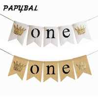 1set Jute Burlap ONE Banner Flag Garland Boy Baby Shower Bunting Girl 1st First Birthday Party Flag Celebrate Party Decor