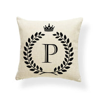 Alphabet Cushion Covers Word Letter Sweet Home Accent Pillow Cushion Case Bed Gift Throw Pillows 17.7Inch Linen Photo Customize