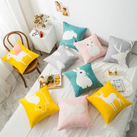 iDouillet Decorative Lovely Animals Embroidered Cotton Throw Pillow Case Square 45x45cm Accent Cushion Cover for Bed Sofa Chair