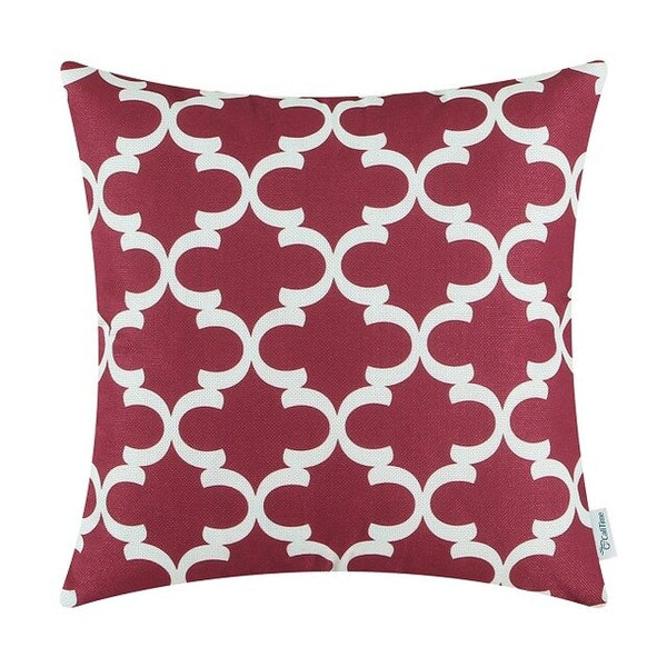 Pack of 2 CaliTime Soft Canvas Throw Pillow Covers Cases for Sofa Home Decor Modern Quatrefoil Accent Geometric 16 X 16 Inches
