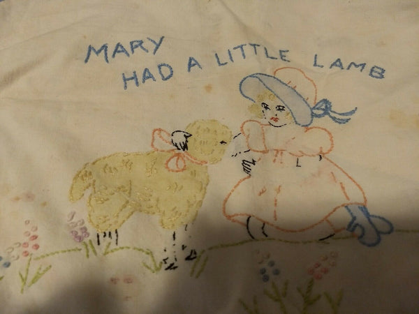 Vintage linen embroidered pillow case Mary had a little lamb