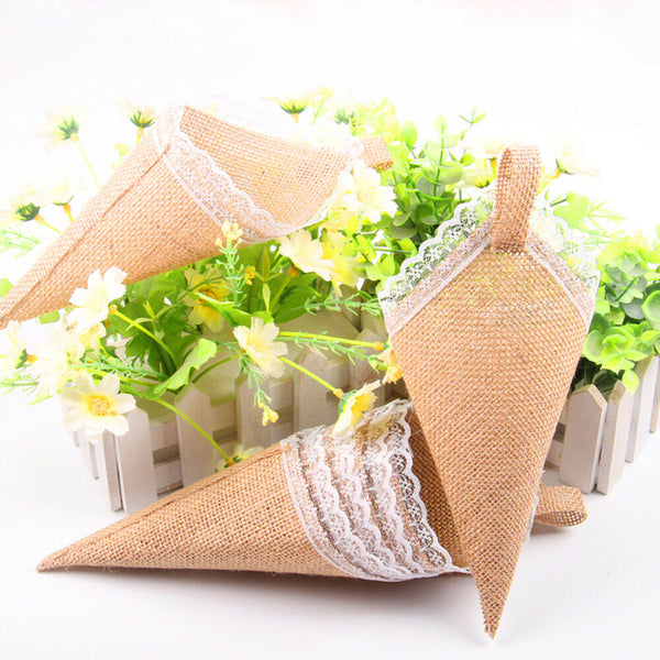 10Pcs Burlap Confetti Pew Cone Chocolate Flower Holder for Baby Shower Birthday