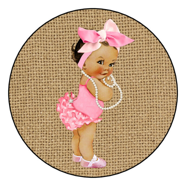 12 Vintage Baby Princess Labels Pary Supply Favor Bags Personalized Pink, Burlap