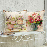 "Pillow Covers Cases Set of 4 18"" x 18"" Linen Floral Nature Shabby Chic Farmhouse"