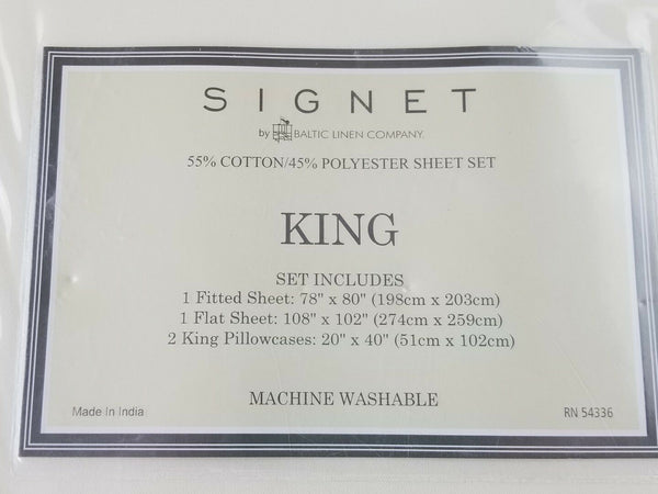 Signet King Size Sheet Set Ivory 1000tc thread count Cotton NEW Baltic linen