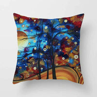 "18""Oil Painting Tree Linen Pillow Cases Throw Cushion Covers Home Sofa Car Decor"