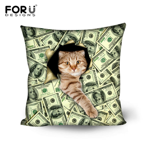 Money Cat Theme Throw Pillow Case Cotton Linen Cushion Cover Sofa Home Decor